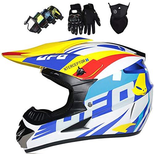 Casco MTB de cara completa con gafas, máscara, guantes, Casco de protección de motocross para adultos para ATV, motocicleta todoterreno, DH Enduro Dirt Bikes, UFO blanco, certificado por el DOT