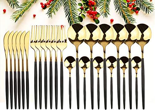 GUANGE Juego de cubiertos de 24 piezas, juegos de cubiertos de acero inoxidable, juego de cucharas y tenedores, servicio para 6, cubiertos con espejo, tenedores y cucharas, cubiertos, oro negr
