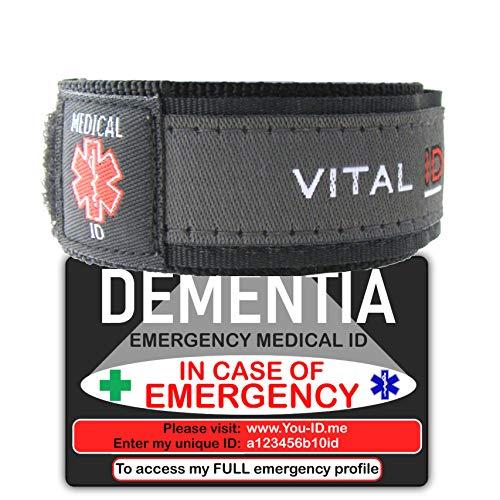 Dementia Alert Armband Deal gemakkelijk vinden Dementia Medische ID Portemonnee Kaart. 2019 Noodidentiteitsbundel. Online Service Inbegrepen. Contacten, voorwaarden, medicijnen, bloedgroep, NHS-nummer registreren