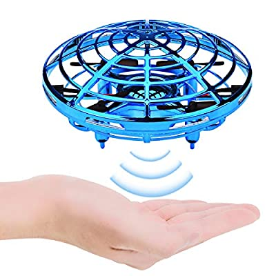Kids Flying Ball Drones Mini Flying Toys Hand Motion Controlled Drone for Boys Girls Indoor Outdoor Garden Games (Blue)