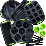 WUWEOT 47 Piece Silicone Bakeware Set, Non-stick Silicone Baking Molds for Muffin Donuts Pizza Tiramisu Cake Pan Cookie Sheets, BPA Free Food Grade, Oven Microwave Dishwasher Safe