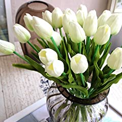 Package include:20 Pcs artificial tulip stems. Material: PU flowers & Plastic Flower Stem. Total length: about 35cm/ 13.77inch. Bud diameter: about 2.7cm/ 1.1 inch,Bud Height:4.2 cm/1.65 inch. *****vase not included.**** High realistic appearance.Smo...