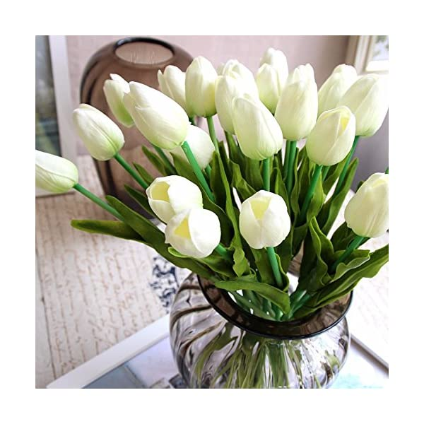 20 tulipanes artificiales para ramo de novia, de látex con tacto real, para decoración del hogar