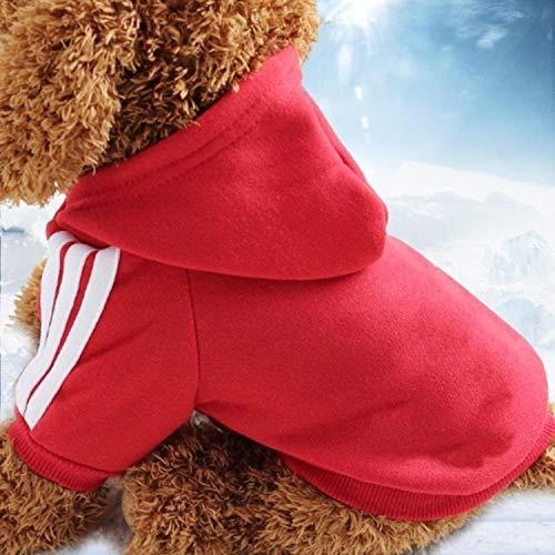 GFFGA Klassische französische Bulldogge Kleine Hundekleidung Winter Chihuahua Mantel Mops Welpen Hund Hoodie Haustier Kleidung Ropa Perro Hunde Haustiere Kleidung-Rot, XL 4,2-6 kg