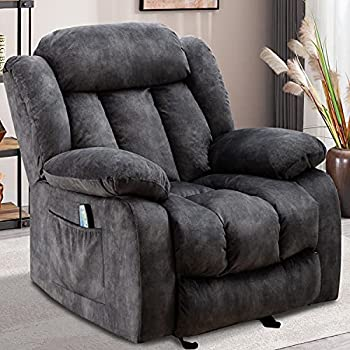 INZOY Massage Rocker Recliner with Heat and Vibration Manual Reclining Chair Rocking Chair Soft Fabric Lounge Chair Overstuffed Sofa Home Theater Seating Grey