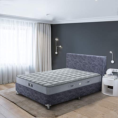 Peps Spine Guard 6-inch King Size Spring Mattress (Grey, 78x72x06) with Two Pillows Free