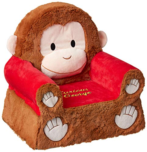 "Animal Adventure | Sweet Seats | Curious George Children's Plush Chair, Brown/Red, Larger :14"" x 19"" x 20"" (54222)"
