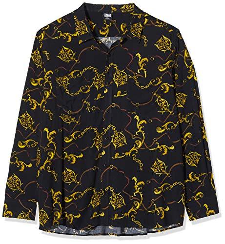 Urban Classics Herren Hemd Viscose Shirt Freizeithemd, Schwarz (Luxury Black 02356), Medium (Herstellergröße: M)