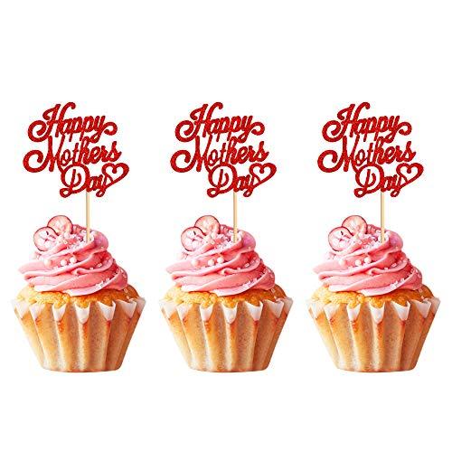 Unimall Global 24 decorazioni per la festa della mamma con glitter per cupcake, decorazione per la festa della mamma, tema rosso