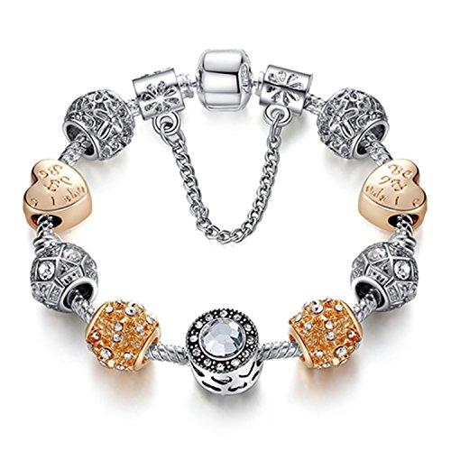 Pulsera Brazalete, Joyeria Regalo, Original Silver 925 Crystal Four Leaf Clover Bracelet with Clear Murano Glass Beads Charm Bracelet Bangle For Women DIY Jewelry PS3496 17cm