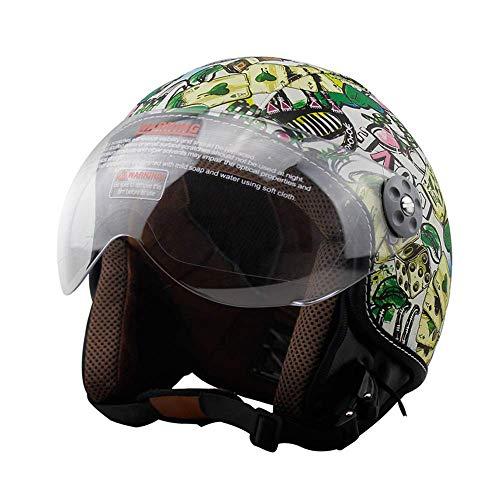 LTongx PU Cuir Moto Vintage Half Casques Jet Moto Biker Cruiser Scooter Touring Casque Dot certifié Down Visor (M, L, XL),XL(61~62cm)