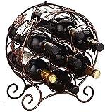 QFYZYZ Estante para botellas de vino creativo, de hierro forjado, para decoración de hogar (color: bronce, tamaño: 14 x 28 x 35,5 cm) (color: bronce, tamaño: 15,5 x 31 x 35,5 cm)