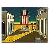 YYAYA.DS Cuadros Decorativos Giorgio De Chirico Piazza Ditalia 1964 para Sala de Estar decoración del hogar Pintura al óleo sobre Lienzo Pintura de Arte de Pared 60x90cm