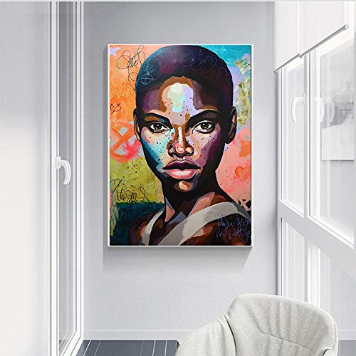 KWzEQ Leinwanddrucke Afrikanische Frau Wohnzimmer HD Print Leinwand Ölgemälde Home Decor70x90cmRahmenlose Malerei