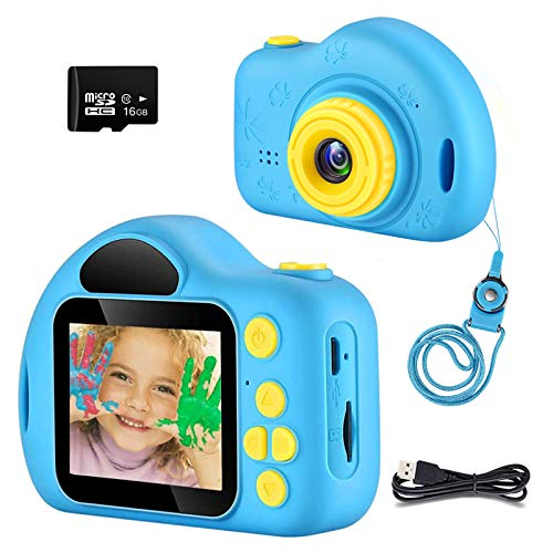hyleton Digital Camera for Kids, 1080P FHD Kids Cameras Children Video Recorder for 3-8 Years Old Boys and Girls, Best Birthday Gift for Preschooler with 16GB SD Card (Blue)