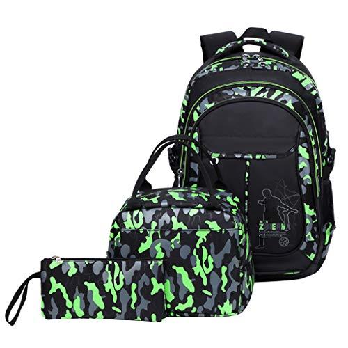 Schulrucksack Jungen Teenager, Kinderrucksack Camouflage Rucksäcke Jugendliche Jungen Mädchen 3-In-1 Schulranzen für Schule(Grün)