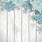 SHUHUI Alfombra temática navideña de Copo de Nieve de Madera Blanca,baño de Cocina Absorbente y Duradero cojín de Franela Suave Antideslizante para la habitación de los niños