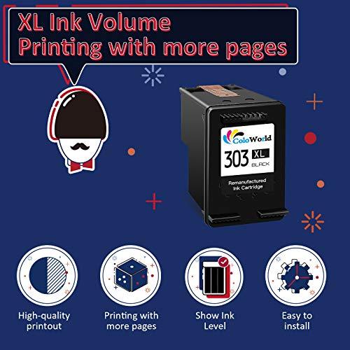 ColoWorld Remanufacturado 303 XL Cartuchos de tinta para hp 303XL para HP Envy Photo 7134 6230 6220 7830 7130 6222 6232 6234 6252 7120 7132 7800 7820 7822 7855 7858 Tango Smart Home Impresoras(1Negro)