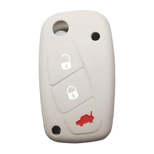 Fiat 3 Botones Silicona Funda para llave de coche / Carcasa de silicona suave para llave