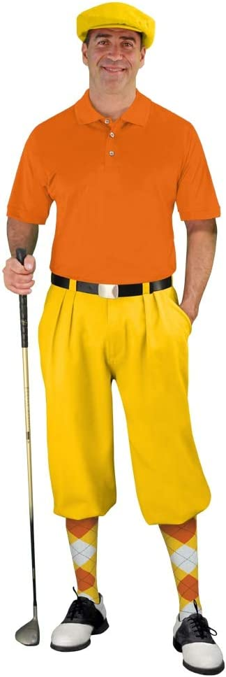 1970s Men's Outfit Inspiration   Costumes Ideas Golf Knickers Mens Start-in-Style Outfit - Yellow  AT vintagedancer.com