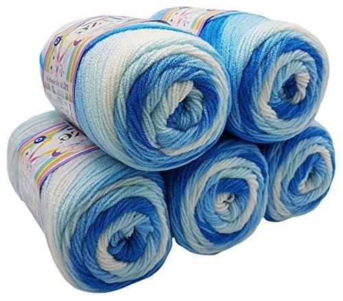 5 x 100g Babywolle Bebe Batik Mehrfarbig, 500 Gramm Wolle zum Stricken und Häkeln (blau weiß 2130)