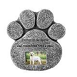 Pietra commemorativa per animali domestici con stampa della zampa con slot per foto personalizzabile - Cane o gatto all'aperto per interni per giardino Indicatore di cortile Pietra tombale grave