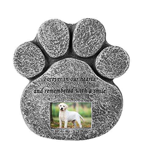 Petyoung Pfotenabdruck Haustier Gedenkstein mit anpassbaren Foto Slot - Indoor Outdoor Hund oder Katze für Garten Hinterhof Marker Grab Grabstein