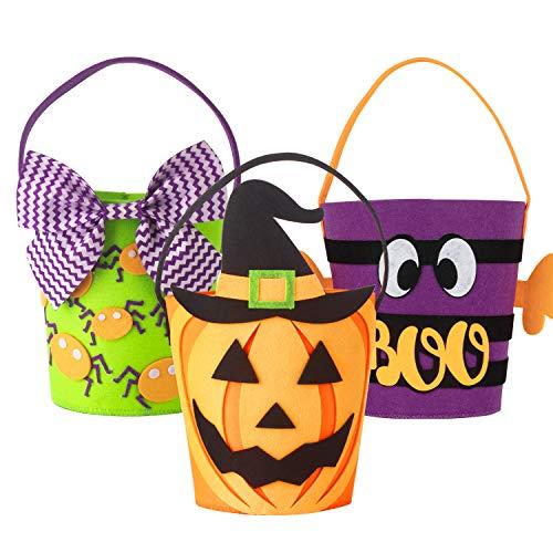 Art Beauty Halloween Trick or Treat Bolsas Cubos Set de 4 cestas de Felpa para niños Niños pequeños Niños