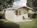 Alpholz Gartenhaus Erki B aus Massiv-Holz   Gerätehaus mit 44 mm Wandstärke   Garten Holzhaus mit Imprägnierung (pinie)   Geräteschuppen Größe: 380 x 380 cm   Satteldach