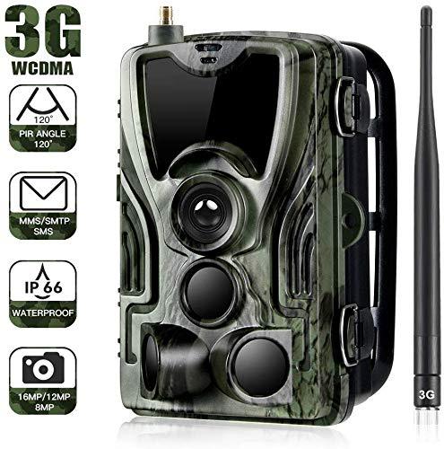 YTLJJ 3G Wildkamera Fotofalle 16MP 1080P mit Handy übertragung, IP65 wasserdichte Jagdkamera mit bewegungsmelder 36 Pcs Low-Glow 940nm Infrarot-LEDs, Infrarot-Nachtsicht 20m, Enthält SD-Karte