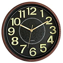 Foxtop Luminous Wall Clock, Silent Non-Ticking Round Quartz Battery Operated Wall Clocks with Easy to Read Night Light Function 3D Numbers for Office Kitchen Living Room 12 Inch