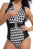 Monokini Mujer Push-up con Cuello en V con Relleno Acolchado Traje de Baño de Una Pieza Bikini,Negro,Medium