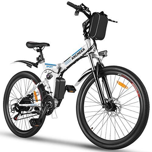 ANCHEER Bicicletta elettrica pieghevole, bicicletta pieghevole per adulti, 26 pollici, motore da 350 W, batteria da 36 V/8 Ah, cambio a 21 velocità, freni a disco idraulici Shimano
