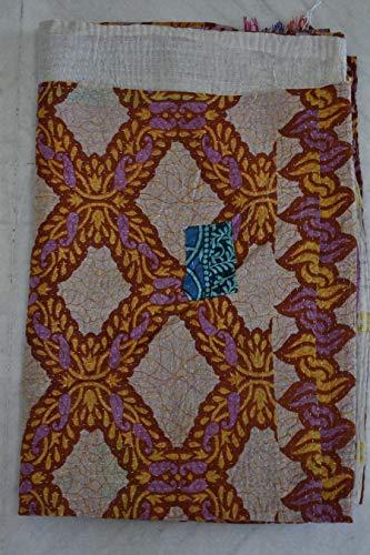 Vintage Reversible KanthaThrow Indian Cotton  Kantha Quilt Handmade Kantha Blanket   Cotton Sari Kantha Bedspread Bohemian Bed Cover