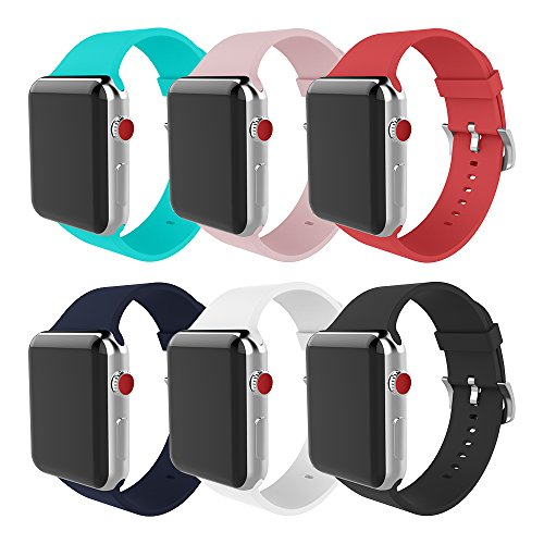 MITERV for Apple Watch Band 38mm 42mm Soft Silicone Replacement iWatch Bands for Apple Watch Series 3 Series 2 Series 1 (New 6 Colors, Case Size: 38mm)