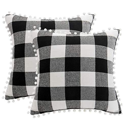 PiccoCasa 2 Pcs Buffalo Check Plaid Throw Pillow Cover with Pompoms, 45 x 45cm, Retro Checkers Decorative Cushion Cover for Sofa Couch Bed Car Seat Decor, Black and White