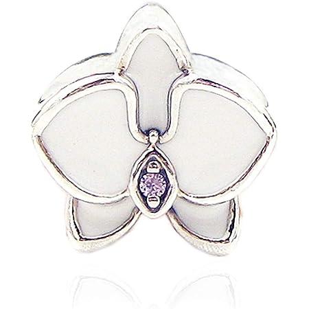 BAKCCI Perle en argent 925 en forme d'orchidée blanche pour bracelet Pandora