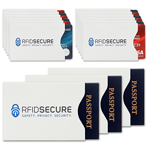 15 RFID Blocking Sleeves (12 Credit Card & 3 Passport Protectors) Top Identity Theft Protection Travel Case Set. Smart Holders Fit Wallet, Purse & Cell Phones. Shields Radio Frequency ID