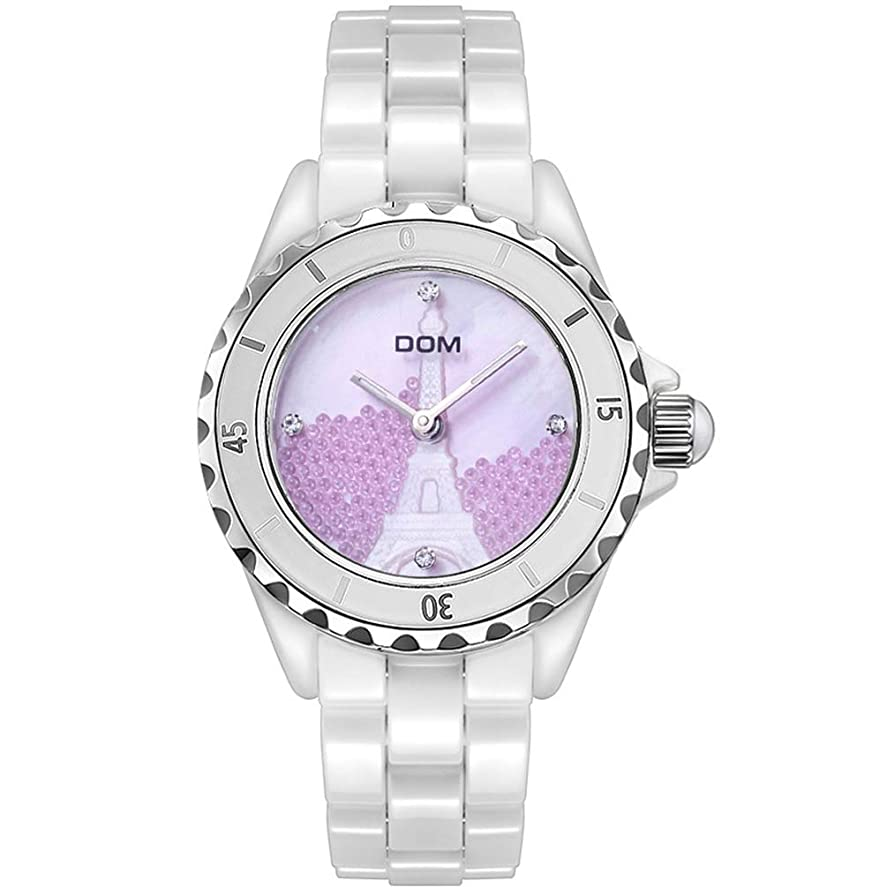 戸惑うアウター惑星Ms腕時計、カジュアル防水クォーツ時計付きMs用ファッション高級腕時計革バンド付きMs用のユニークな腕時計。, Pink
