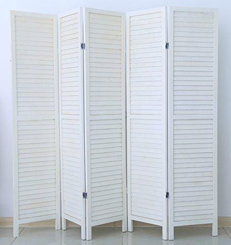 PEGANE Biombo persiana de Madera de 5 Paneles, Colorido con Blanco Barnizado - Dim : A 170 x A 200 cm