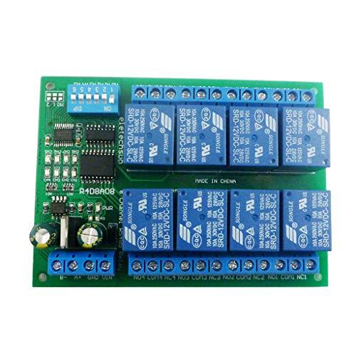 hfior 12V 8Ch RS485 placa de relé Modbus RTU UART Interruptor de control remoto DIN35 Rail Box
