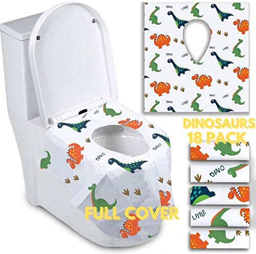 Disposable Toilet Seat Covers for Toddlers Individually Wrapped Dinosaur Potty Training Liners product image