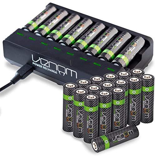 Venom Power 8-Way Charging Dock plus 24 x High Capacity 2100mAh Rechargeable AA Batteries