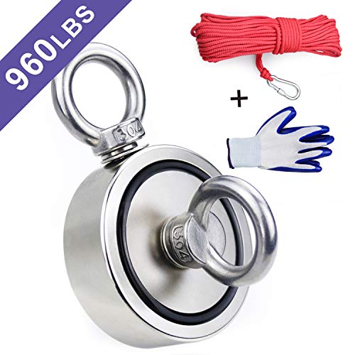 Double Sided Neodymium Fishing Magnet,Combined 960 lbs(436KG) Pulling Force Rare Earth Magnets with 20m (65 Foot) Durable Rope and Protective Gloves