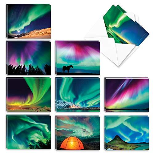 The Best Card Company - Box of 20 Blank Greeting Cards Assortment (4 x 5.12 Inch) (10 Designs, 2 Each) - Aurora Borealis AM7029OCB-B2x10