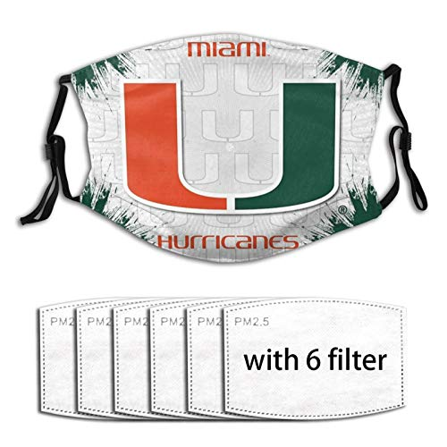 Miami Hurricanes Adults Washable Reusable Face Cover with Activated Carbon Filter