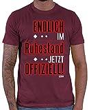 Hariz – Camiseta para hombre, diseño con texto en alemán 'Endlich Im Ruhestand Jetzt Offiziell Ruhestand Rentner Plus tarjeta de regalo Rojo vino. S
