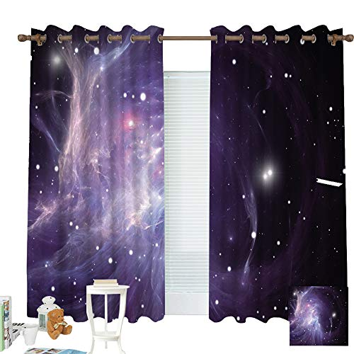 """ZXAWT Custom Design Curtains/Grommet Top Blackout Curtains/Thermal Insulated Curtain for Bedroom and Kitchen-Set of 2 Panels(Interstellar Clouds 55"""" W45 L)"""