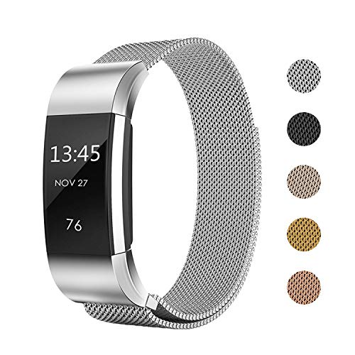 Keasy Replacement Bands Compatible with Fitbit Charge 2, Stainless Steel Metal Lock Replacement Wristband for Women Men (Small, Silver)