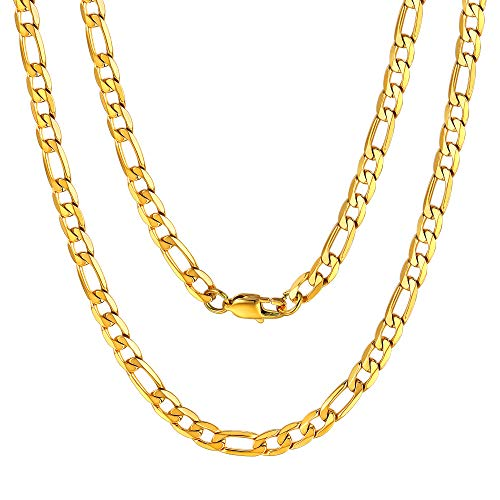 ChainsPro Necklace Gold Plated for Men Figaro Necklace 24 inch 6mm Rapper Fashion Jewelry